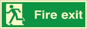 Final Fire Exit Left Sign 300mm x 100mm  Glow In The Dark Rigid Photoluminescent