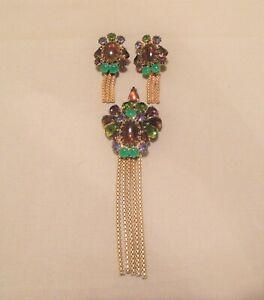 Hobe Green Purple Amber Rhinestone Gold Tone Dangles Pin/Pendant & Earrings Set
