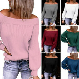 Womens Off Shoulder Knitted Sweater Jumper Ladies Sexy Long Sleeve Pullover Tops