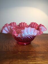 FENTON CRANBERRY HOBNAIL DISH BOWL LARGE PINK WHITE RUFFLE OPALESCENT GLASS