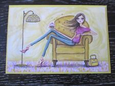 Papyrus Bella Pilar Fashion Girl Blank Greeting Card Notecard