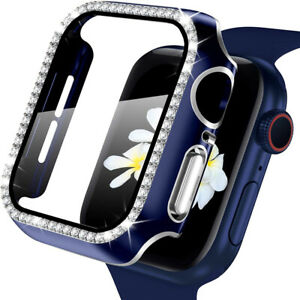 Fr Apple Watch Series 6 5 4 SE Diamond Bling Case w/ Tempered Glass Screen Cover