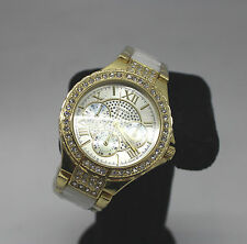 Crystal Vegas Women Stainless Steel Band Crystal Wrist Watches Gold/White UK