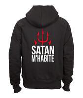 Sweat shirt noir à capuche homme zippé fruit of the loom SATAN M'HABITE