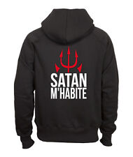 Sweat shirt noir à capuche homme zippé fruit of the loom SATAN M'HABITE