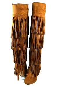 Tan Catwalk Sexy 4 Layer Fringe Skirt Stiletto Over the Knee Thigh High Boots