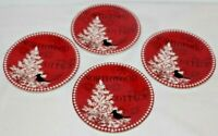 222 Fifth Northwood Cottage Porcelain Christmas Red Apprtizer Plates Set of Four