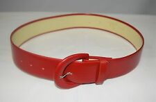 """Vintage 80's Wide Red Patent Leather Cinch Belt Size 8 by Doncaster 1 5/8"""" W"""