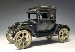 """1920's Excellent AC WILLIAMS Cast Iron FORD """"DOCTOR'S COUPE"""" w. CURTAINS IN BACK"""