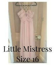 Little Mistress Pink Grecian Maxi Dress with Crossover Straps. Holiday Prom
