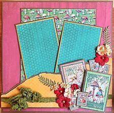 Handmade Mushroom Fairy Garden & Flowers 12x12 Premade Scrapbook Layout Page