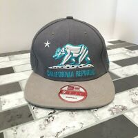 New Era California Republic Snapback Cap Hat 9Fifty Gray Teal Embroidered