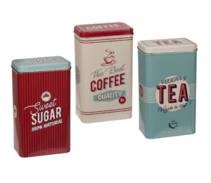 Set Of 3 Vintage Rectangular Tea Coffee Sugar Jar Canisters Kitchen