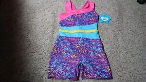 Moret Leotard M 8/10 Shimmery  Dance Gymnastics Bodysuit SHORTS COLORFUL!