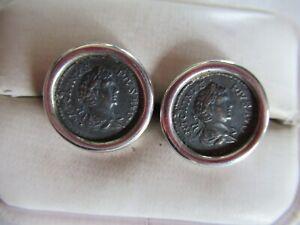 STERLING SILVER ROMAN COIN CUFFLINKS