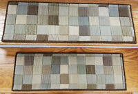 """Brown/Multi Stair Treads by Rug Depot - Set of 7 Wool Non Slip Treads 27"""" x 9"""""""
