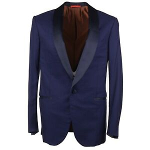 Isaia 'Sanita' Blue Super 170s Wool-Silk Tuxedo with Shawl Collar 42R (Eu 52)