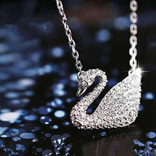 Silver Plated 3A Zircon Shining Swan Elegant Long Necklaces & Pendants For Women