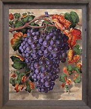 Black Grape Still Life Fruit Kitchen Wall Decor Art Barnwood Framed Picture