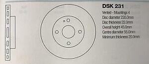 DSK231 KIA MENTOR & MAZDA 323/DEMIO BRAKE DISC
