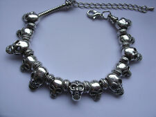Lovely Silver SKULL Chain Bracelet  with Thirteen Charms