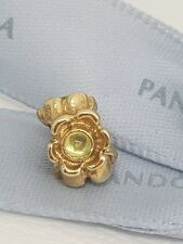 Authentic Pandora 14ct Gold 14k Cabochon Peridot Flower Charm 750343PE