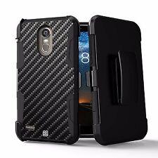 For LG Stylo 3,Stylo 3 PLUS, LS777 Hybrid Rugged Armor Case Belt Clip Carbon