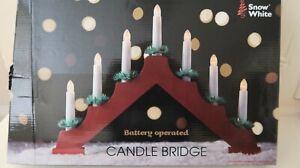 Wood Christmas Led Candle Bridge 7 Led Bulbs Home Decoration Battery Operated