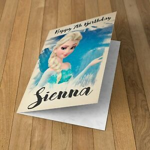 FROZEN ELSA Personalised Birthday Card Daughter Granddaughter Niece Friend Girls