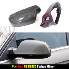 Replacement Carbon Fiber Mirror Cover for Audi A4 B8.5 A5 S5 RS5 w/ Side Assist