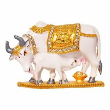 Kamadhenu Cow & Calf Idol Brass Dashboard Statue Figurine Gift