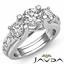 3 Stone Round Diamond Unique Womens Engagement Ring GIA F SI1 14k White Gold 2ct