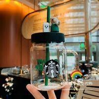 2020 Bear Style Glass Starbucks Cup With bowl cover 600ml Mason Straw Cup
