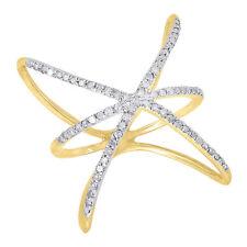 10K Yellow Gold Diamond Ladies Intertwined Star Fashion Right Hand Ring .33 Ct.