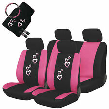 15Pc Piece Pink Heart Car Seat Cover Set + Mats Steering Wheel Cover & More