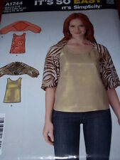 SIMPLICITY #A1744- LADIES ~ IT'S SO EASY ~ SLEEVELESS TOP & SHRUG PATTERN 8-18uc