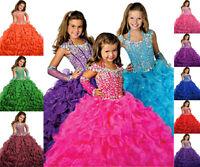 Neu Blumenmädchen Kleid Hochzeit mit Mädchen Tüll Festzug Abendkleid Kleider