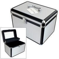 LARGE SILVER ALUMINIUM VANITY CASE COSMETIC MAKE UP JEWELLERY BEAUTY SALON BOX