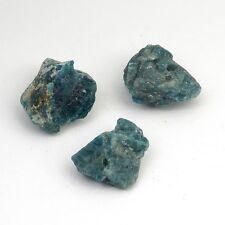3 apatite matte primitive nugget beads dark green blue beads semiprecious stone