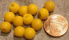 "12 Small Shiny Yellow Glass Ball Buttons Made in Germany Almost 3/8"" 9mm # 8181"