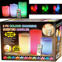 NEW 3 x COLOUR CHANGING 12 LED VANILLA SCENTED CANDLES WITH TIMER REMOTE CONTROL