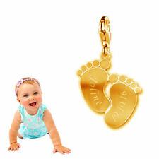 Anhänger Babyfüße mit Kette-Echt Silber925-Oberfläche gelbgold vergoldet+Gravur