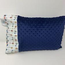 Nwt Blue Arrow Navy Blue Minky Dot Toddler Pillowcase 12 x 16 Boy Gold Metallic