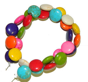 """14mm Coin Beads Chalk Turquoise Dyed/Stabilized Mix Beads 15"""""""