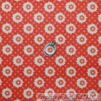 BonEful Fabric FQ Cotton Quilt Orange Pink White Flower Calico Polka Dot Print S