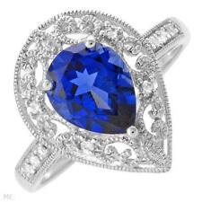 SUPERB SOLID 10K WHITE GOLD SAPPHIRE & DIAMOND RING 7 / O