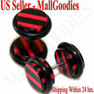 1272 Fake Cheater Illusion Faux Ear Plugs Black & Red Stripes Parttern 0G 8mm