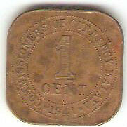 Offer> Malaya KGVl one cent 1941i bronze coin high grade! ?? key date!