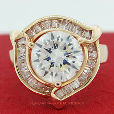 Real Genuine Solid 9ct Rose Gold Engagement Wedding Band Ring Simulated Diamonds