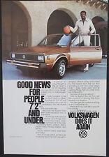 Volkswagen Rabbit Ad With Wilt Chamberlain Original 1979 Vintage Ad